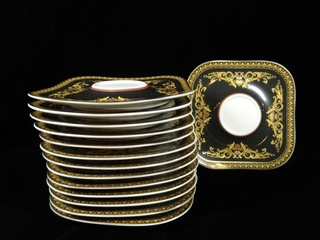 14 ROSENTHAL CHINA VERSACE MEDUSA SQUARE SAUCERS,