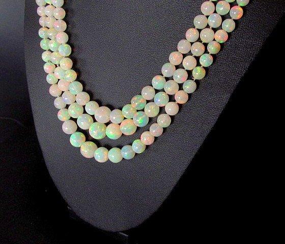 Opal triple strand bead necklace multi-gem clasp 18k