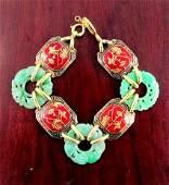 """Vintage grade """"A"""" jade and enamel bracelet 14k"""