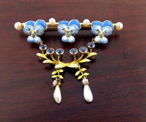 Vintage pin enamel sapphire pearl diamond 14k