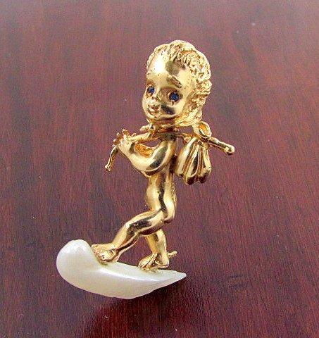 Ruser cherub pin w/ pearl and sapphire 14k