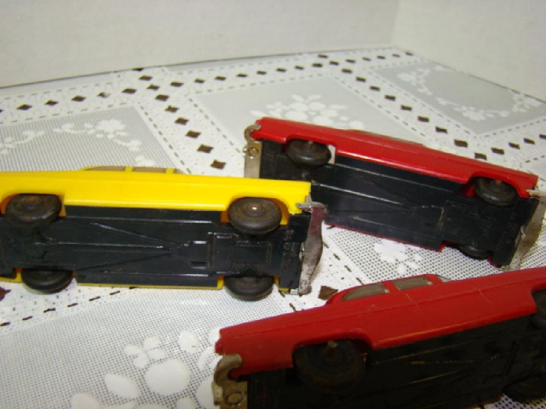 3 LIONEL TOWN CARS - 2 RED & 1 YELLOW - 8
