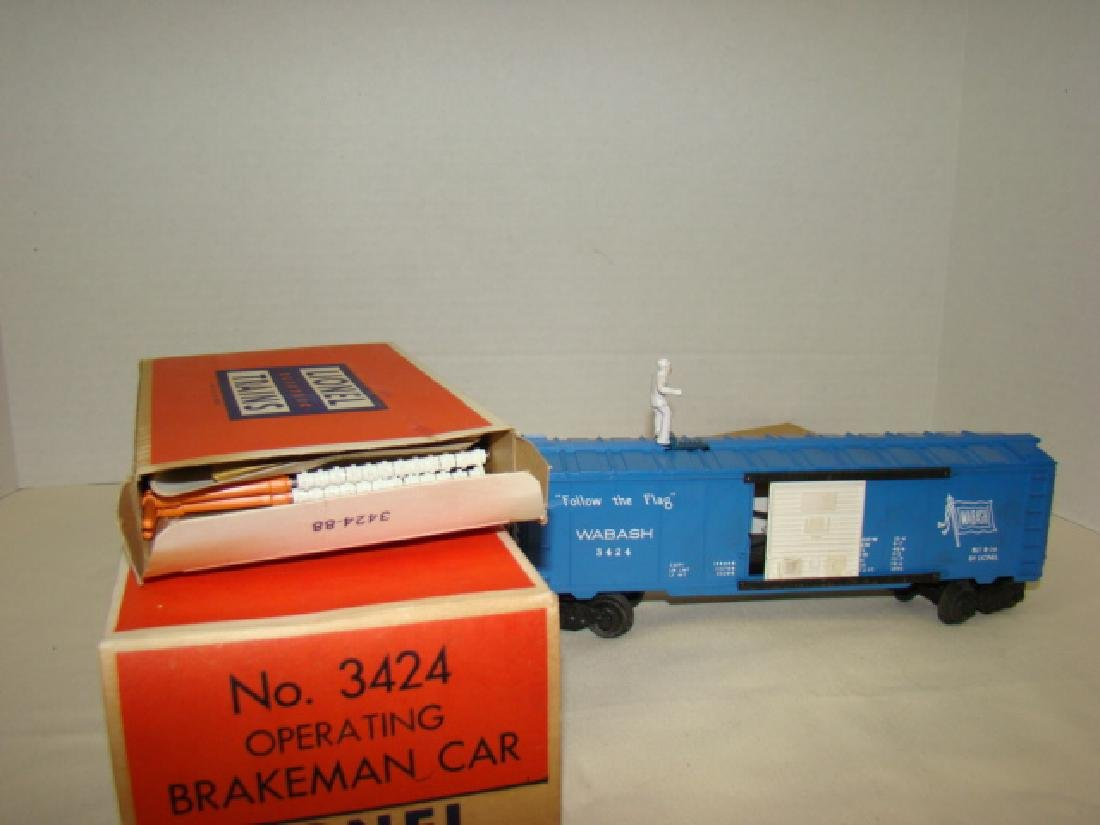 LIONEL OPERATING BRAKEMAN CAR WITH LOW BRIDGE SIGN - 3