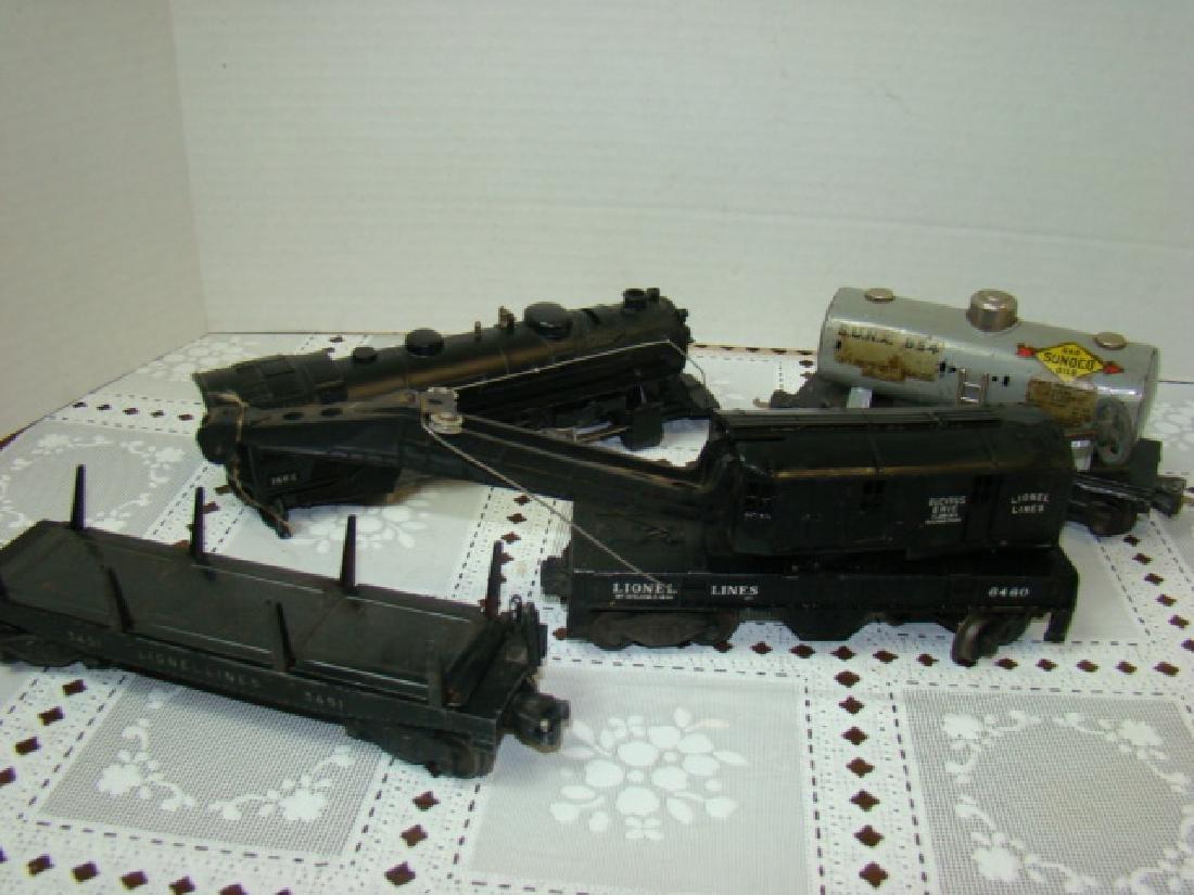 LIONEL TRAINS- LOCOMOTIVE 221 CAB-CRANE CAR & MORE