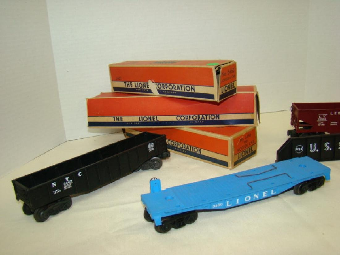 LIONEL GONDOLA -HOPPER - FLAT CAR WITH ORIGINAL BO - 3