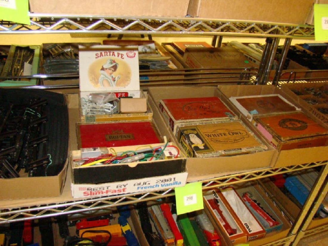 LARGE TRAIN PARTS LOT-IN CIGAR BOXES AND MORE