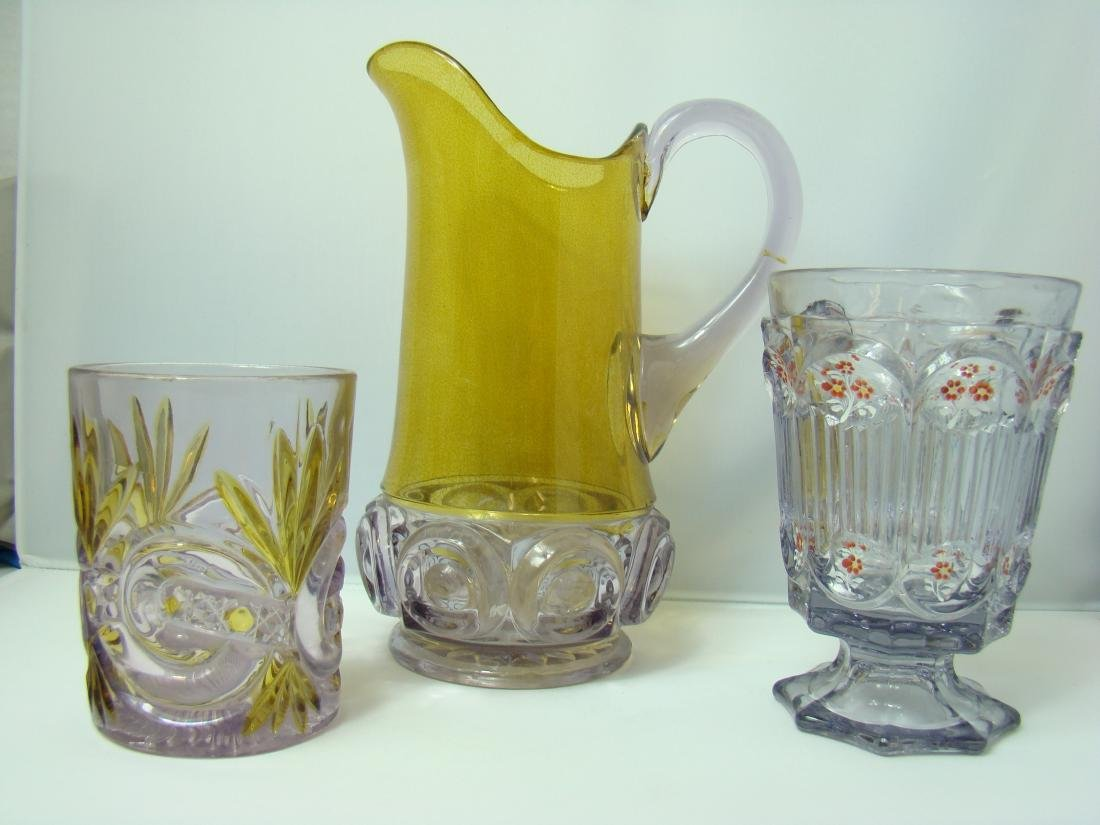 VINTAGE PURPLE & YELLOW PITCHER -GLASS & MORE
