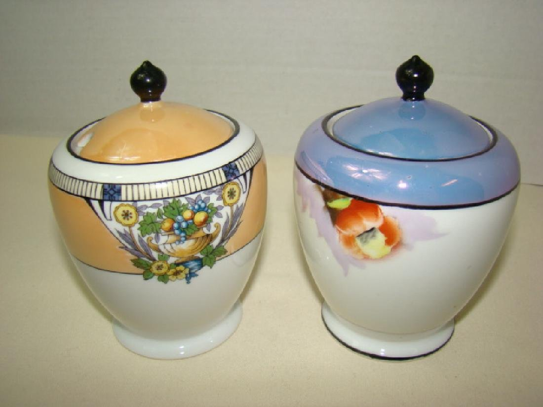 PAIR OF NORITAKE JELLY JARS WITH LIDS; MISSING SPO