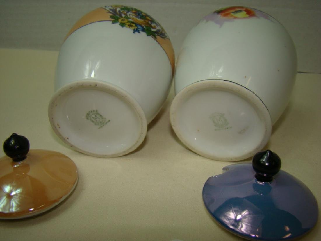 PAIR OF NORITAKE JELLY JARS WITH LIDS; MISSING SPO - 2