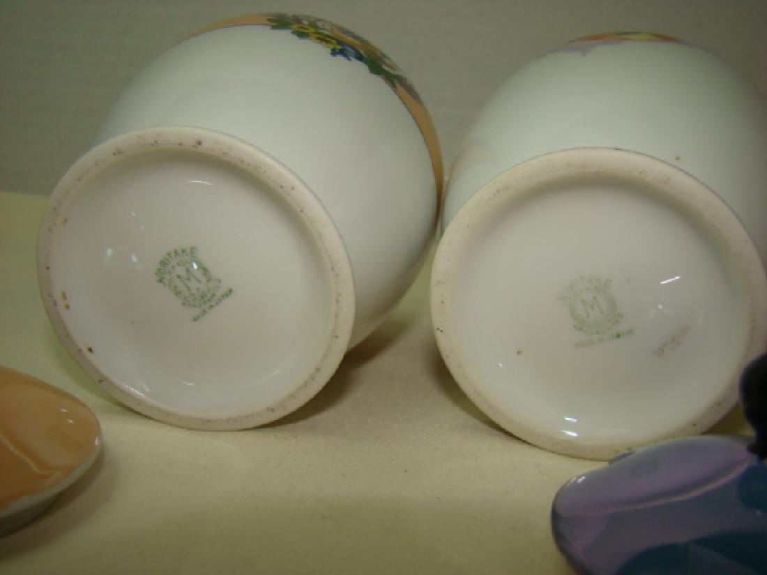 PAIR OF NORITAKE JELLY JARS WITH LIDS; MISSING SPO - 3