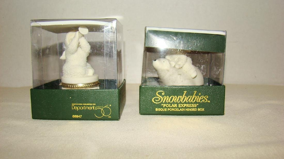 TWO SNOWBABIES POAR EXPRESS PORCELIAN HINGED BOXES