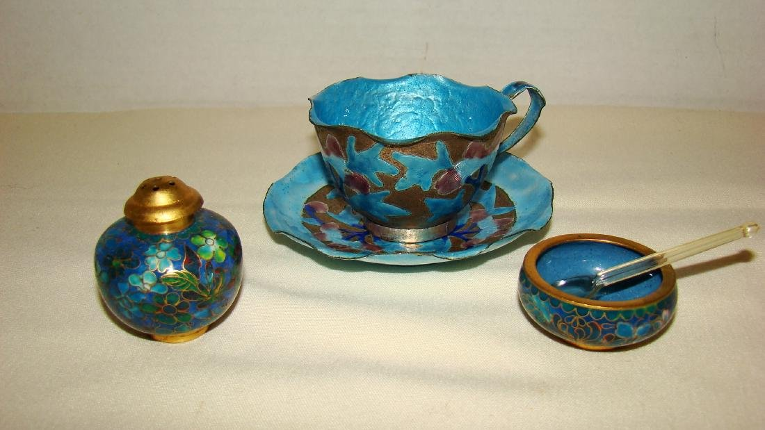 CLOISSONE SALT DISH/PEPPER SHAKER AND TEA CUP AND