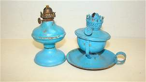 VINTAGE SMALL METAL OIL LAMPS