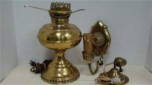 BRASS CONVERTED OIL LAMP AND WALL SCONCES