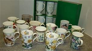 VARIOUS FLOWERED COFFEE CUPS AND IRISH COFFEE MUGS