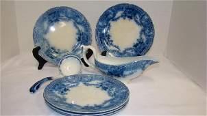 FLOW BLUE WOOD & SON GLENWOOD SALAD PLATES - GRAVY