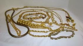 FUN COLLECTION OF GOLD COSTUME JEWELRY