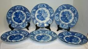 FLOW BLUE ABBEY OF HOLLAND 9 IN PLATES