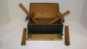 VINTAGE WOODEN RULERS AND MORTISE MARKING GUAGES