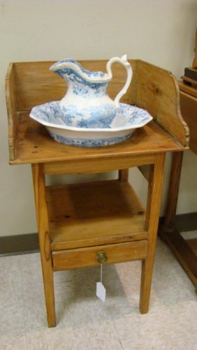 EARLY AMERICAN PINE WASHSTAND WITH BOWL & PITCHER