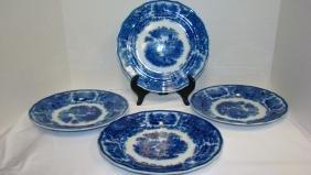 FLOW BLUE BURGESS & LEIGH NONPAREIL DINNER PLATES