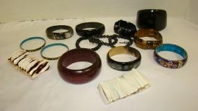 VARIETY OF BRACELETS IN METAL - ENAMEL - AND MORE