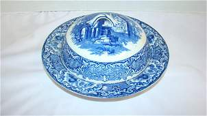 ABBEY PATTERN FLOW BLUE ROUND COVERED BUTTER DISH
