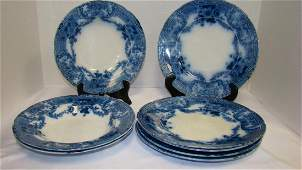 FLOW BLUE WOOD & SON GLENWOOD DINNER PLATES AND SO