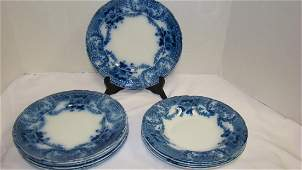 FLOW BLUE WOOD & SONS ''GLENWOOD'' BOWLS AND PLATE