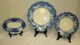 FLOW BLUE JOHNSON BROS DOROTHY DINNER AND BREAD PL