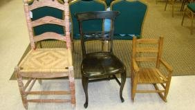 3 ANTIQUE CHAIRS  - BLACK ENAMEL - CHILD'S WOODEN