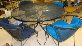 ROUND WROUGHT IRON PATIO TABLE WITH 4 CHAIRS