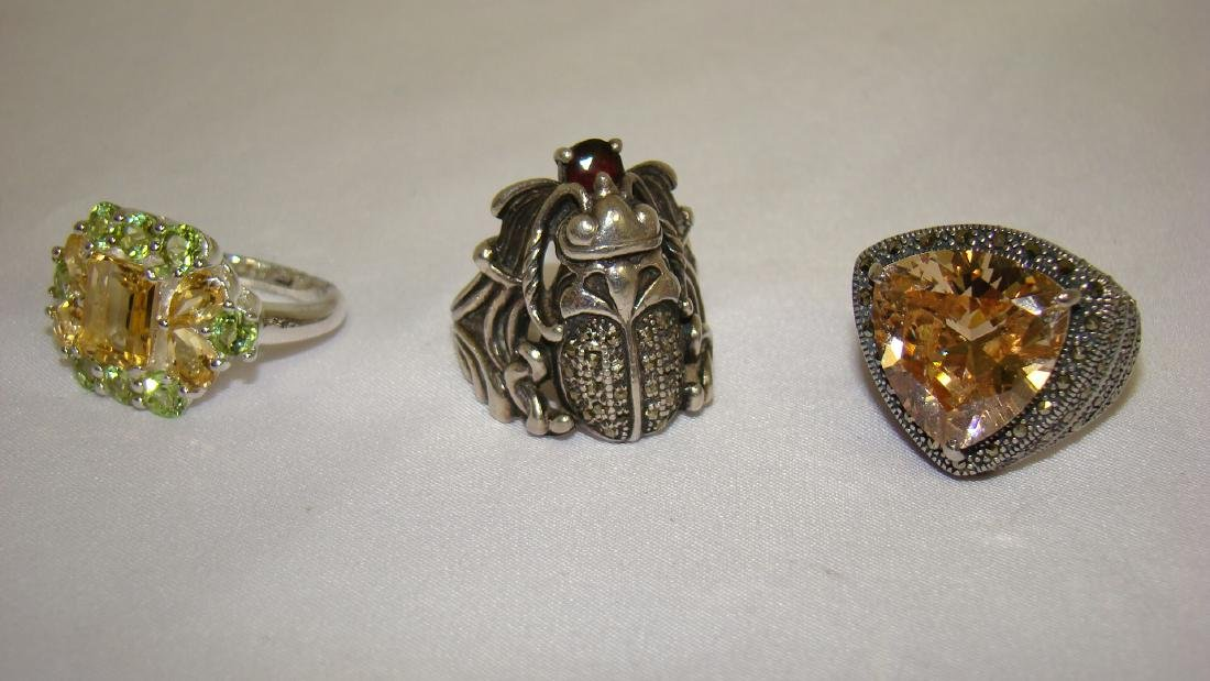 VINTAGE SILVER AND RHINESTONE RINGS AND MORE