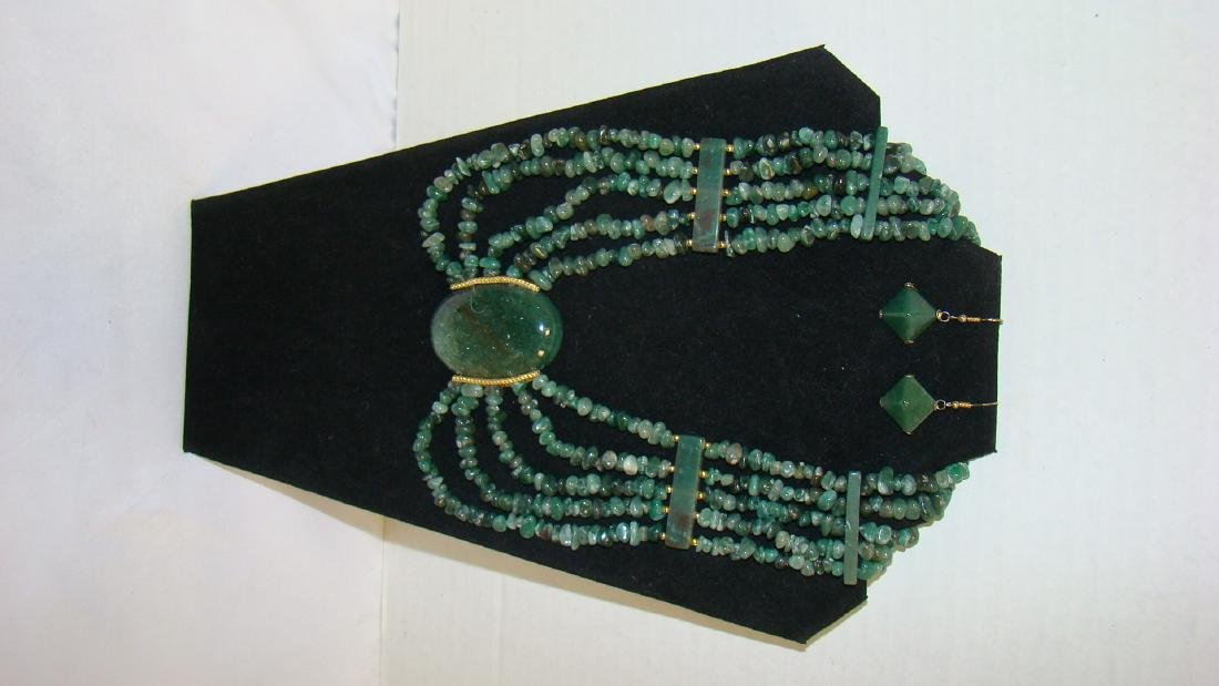BEAUTIFUL MULTI STRAND JADE NECKLACE AND EARRINGS
