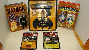 5 BATMAN FIGURINES  ACCESSORIES  NEW IN PACKAGES