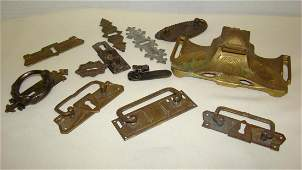 NOUVEAU GILT INKWELL AND VARIOUS VINTAGE HARDWARE
