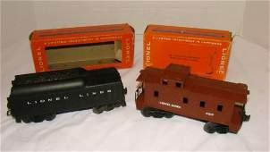 LIONEL TENDER 1130T & CABOOSE 6017 IN ORIGINAL BOX