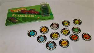 VINTAGE MATTEL HOT WHEELS PINS AND 69 CHEVY TRUCK
