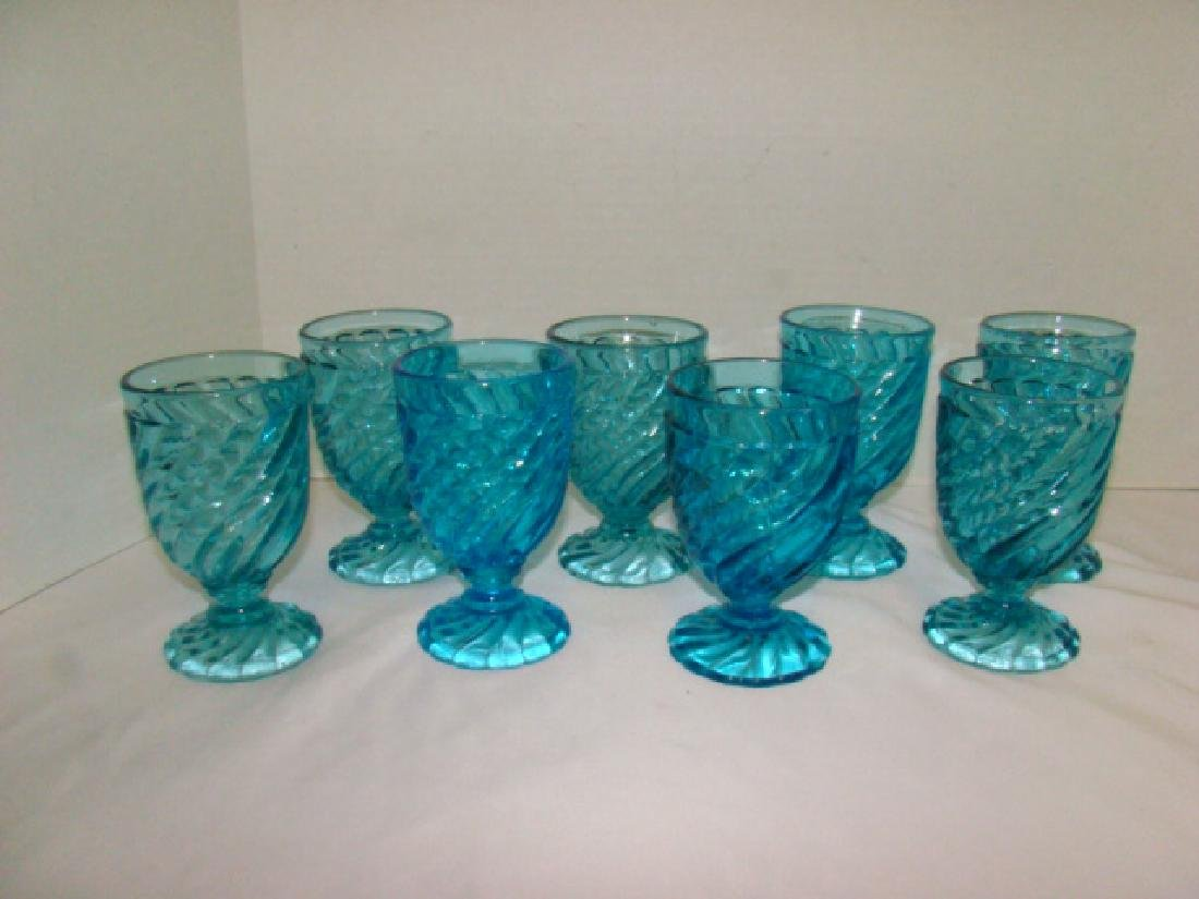 8 BLUE GLASS WATER GOBLETS