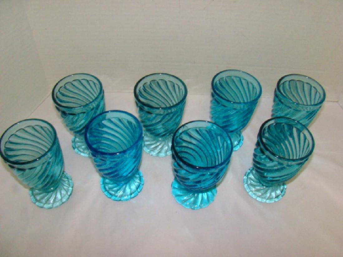 8 BLUE GLASS WATER GOBLETS - 2