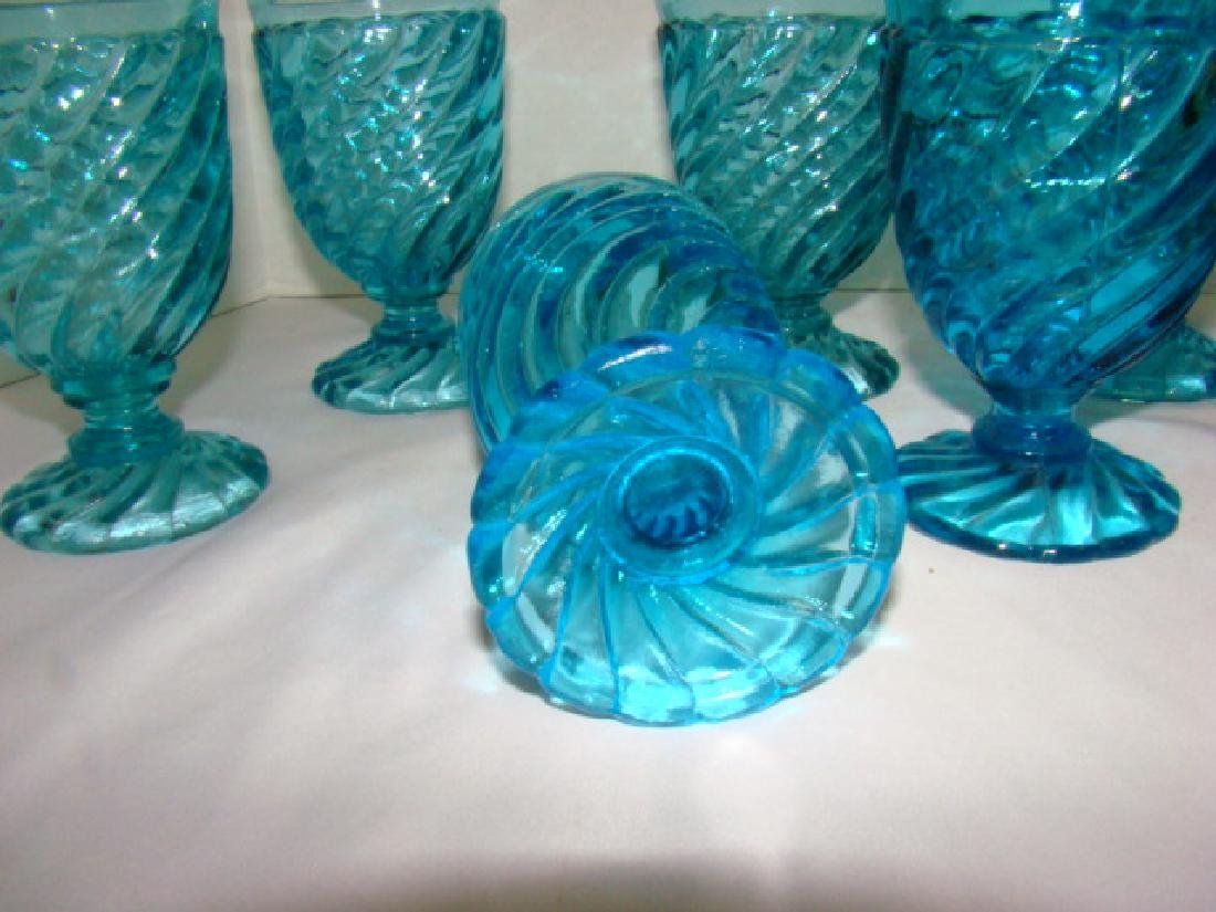 8 BLUE GLASS WATER GOBLETS - 3