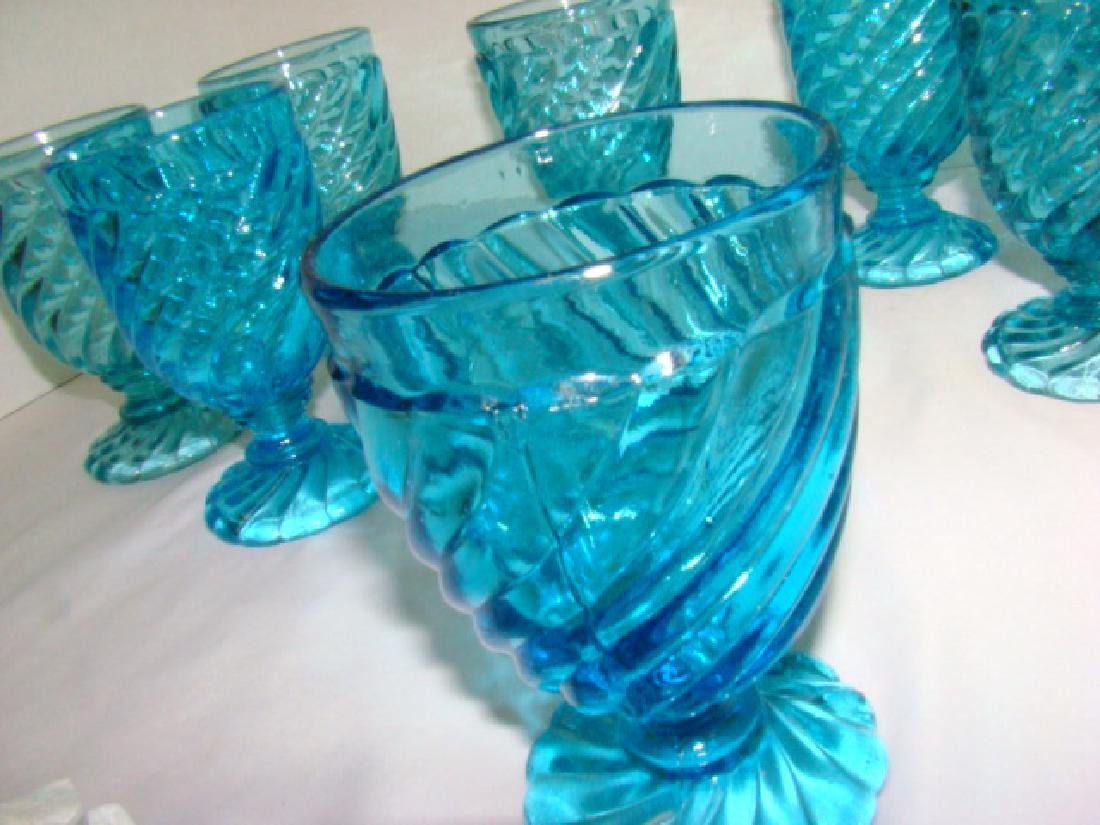 8 BLUE GLASS WATER GOBLETS - 4