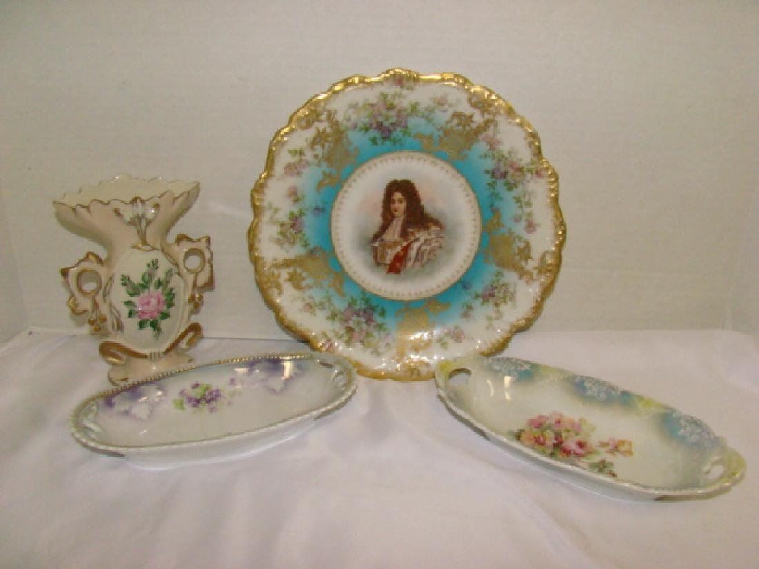 FLORAL PAINTED CHINA PLATE WARE AND VASE