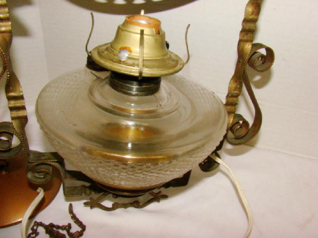 REPURPOSED ANTIQUE HANGING OIL LAMP - 2