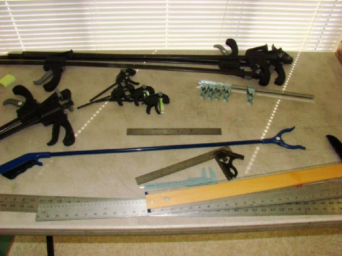 VARIOUS TABLE CLAMPS, SQUARES AND MORE