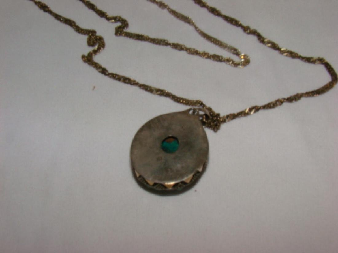SILVER NECKLACE WITH GREEN QUARTZ STONE - 3