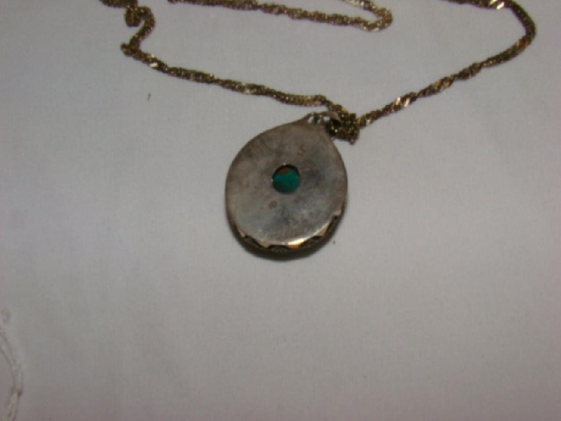 SILVER NECKLACE WITH GREEN QUARTZ STONE - 4
