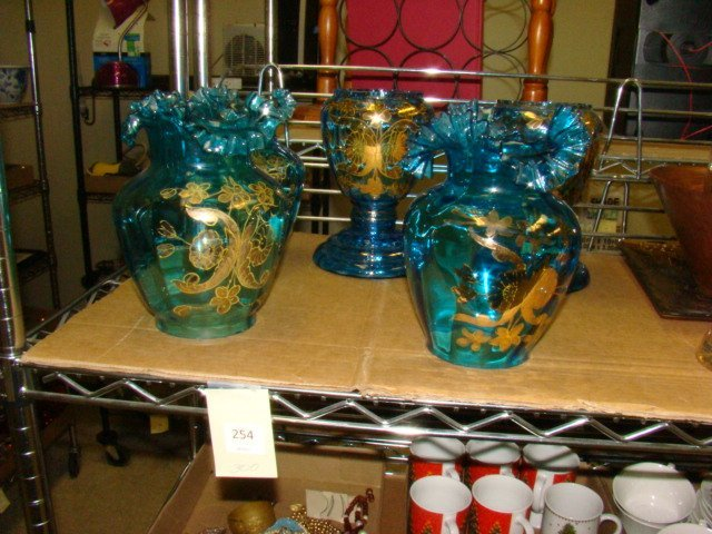 HAND PAINTED BLUE RUFFLE SHADES  AND TWO BASES