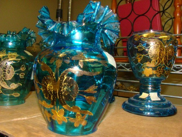 HAND PAINTED BLUE RUFFLE SHADES  AND TWO BASES - 2