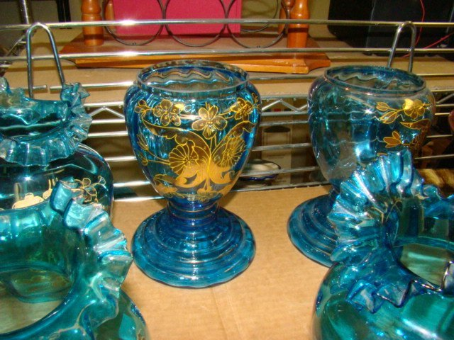 HAND PAINTED BLUE RUFFLE SHADES  AND TWO BASES - 3
